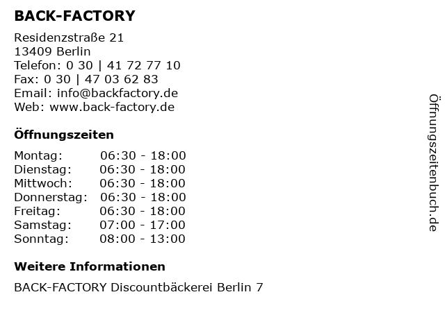 BACK-FACTORY in Berlin: Adresse und Öffnungszeiten