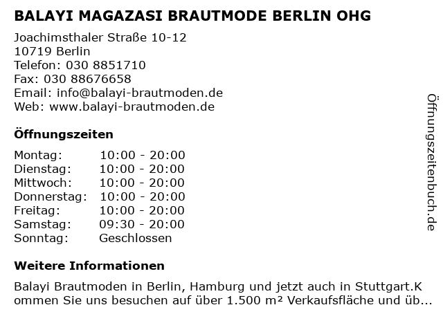 ᐅ Offnungszeiten Balayi Magazasi Brautmode Berlin Ohg