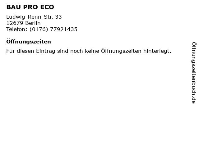 BAU PRO ECO in Berlin: Adresse und Öffnungszeiten