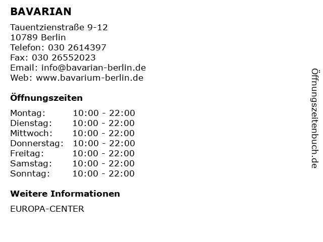 BAVARIAN in Berlin: Adresse und Öffnungszeiten
