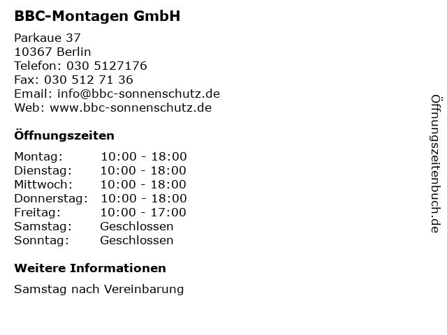 BBC-Montagen GmbH in Berlin: Adresse und Öffnungszeiten