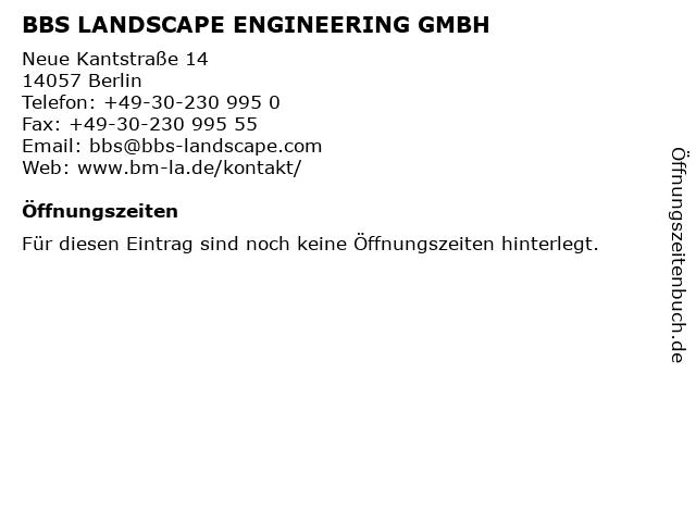 BBS LANDSCAPE ENGINEERING GMBH in Berlin: Adresse und Öffnungszeiten