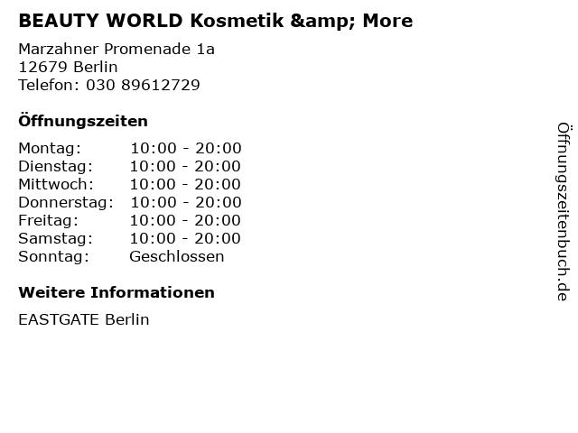 BEAUTY WORLD Kosmetik & More in Berlin: Adresse und Öffnungszeiten