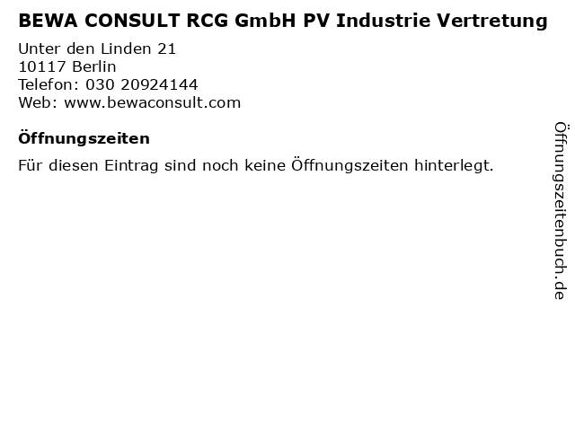 BEWA CONSULT RCG GmbH PV Industrie Vertretung in Berlin: Adresse und Öffnungszeiten