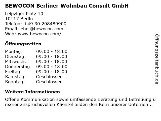 BEWOCON Berliner Wohnbau Consult GmbH in Berlin: Adresse und Öffnungszeiten