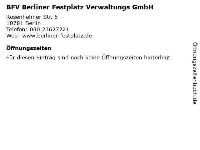 BFV Berliner Festplatz Verwaltungs GmbH in Berlin: Adresse und Öffnungszeiten