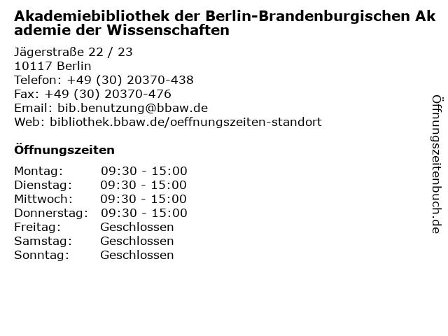 BIBLIOTHEK der Berlin-Brandenburgischen Akademie der Wissenschaften in Berlin: Adresse und Öffnungszeiten