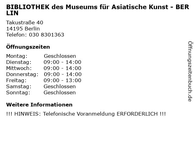 BIBLIOTHEK des Museums für Asiatische Kunst - BERLIN in Berlin: Adresse und Öffnungszeiten