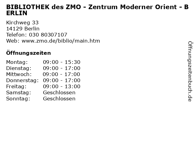 BIBLIOTHEK des ZMO - Zentrum Moderner Orient - BERLIN in Berlin: Adresse und Öffnungszeiten