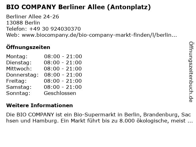 BIO COMPANY Berliner Allee (Antonplatz) in Berlin: Adresse und Öffnungszeiten