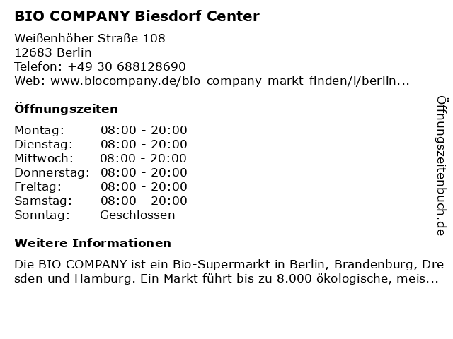 ᐅ öffnungszeiten Bio Company Biesdorf Center Weißenhöher Straße