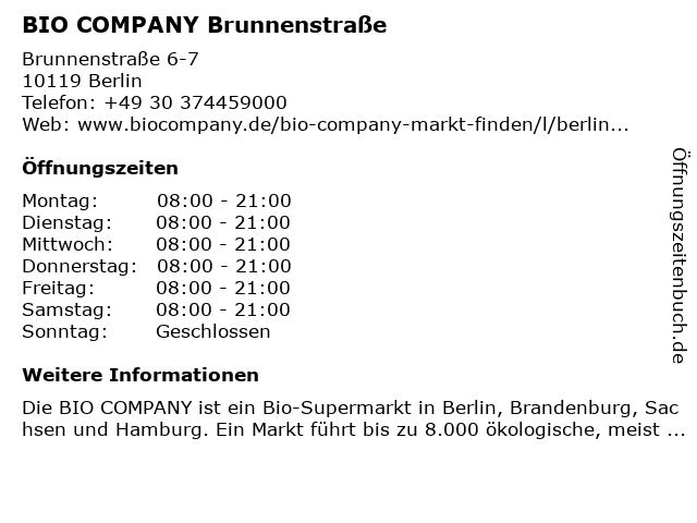 BIO COMPANY Brunnenstraße in Berlin: Adresse und Öffnungszeiten