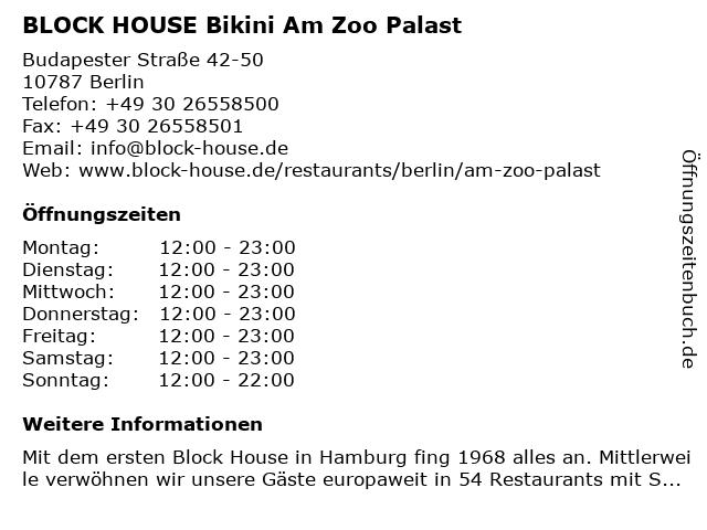 BLOCK HOUSE Bikini Am Zoo Palast in Berlin: Adresse und Öffnungszeiten