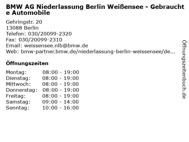 BMW AG Niederlassung Berlin Weißensee - Gebrauchte Automobile in Berlin: Adresse und Öffnungszeiten