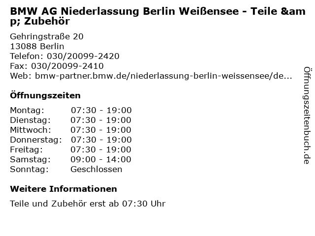 BMW AG Niederlassung Berlin Weißensee - Teile & Zubehör in Berlin: Adresse und Öffnungszeiten