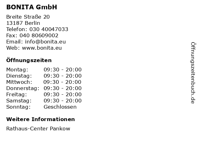 BONITA GmbH in Berlin: Adresse und Öffnungszeiten