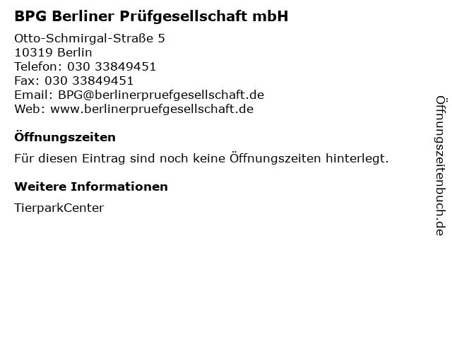 BPG Berliner Prüfgesellschaft mbH in Berlin: Adresse und Öffnungszeiten