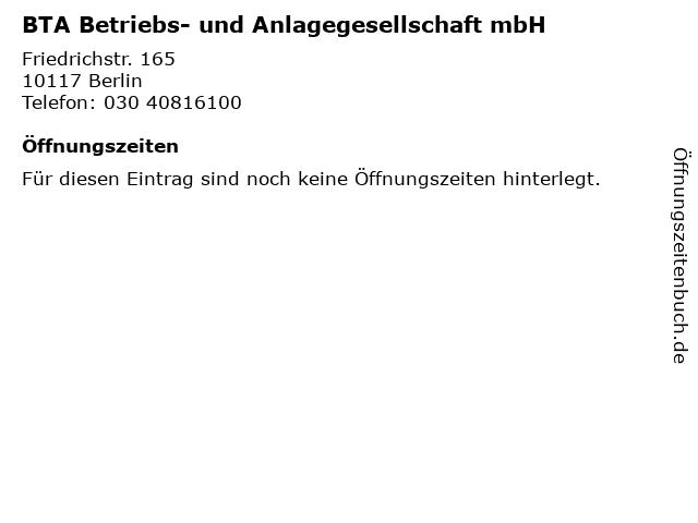 BTA Betriebs- und Anlagegesellschaft mbH in Berlin: Adresse und Öffnungszeiten