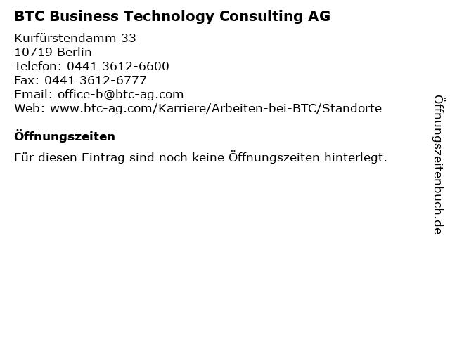 BTC Business Technology Consulting AG in Berlin: Adresse und Öffnungszeiten