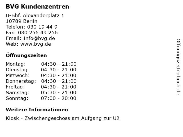 BVG Kundenzentren in Berlin: Adresse und Öffnungszeiten