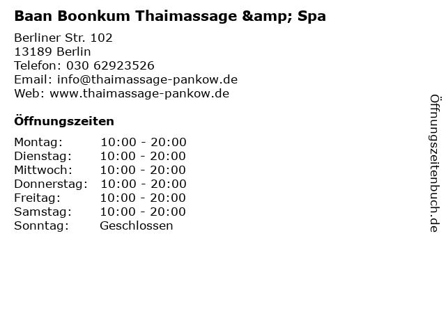 Baan Boonkum Thaimassage & Spa in Berlin: Adresse und Öffnungszeiten