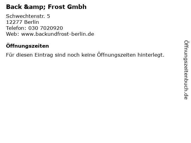 Back & Frost Gmbh in Berlin: Adresse und Öffnungszeiten