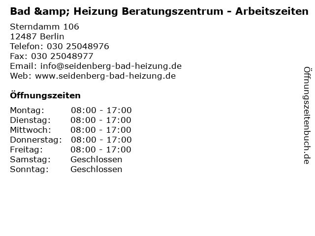 Bad & Heizung Beratungszentrum - Arbeitszeiten in Berlin: Adresse und Öffnungszeiten