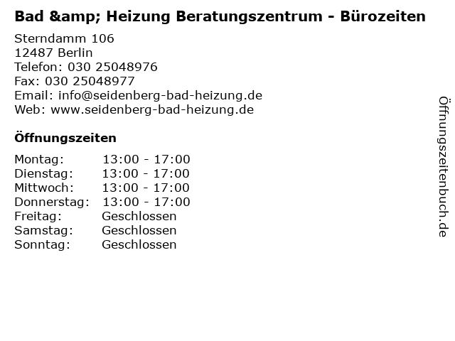 Bad & Heizung Beratungszentrum - Bürozeiten in Berlin: Adresse und Öffnungszeiten