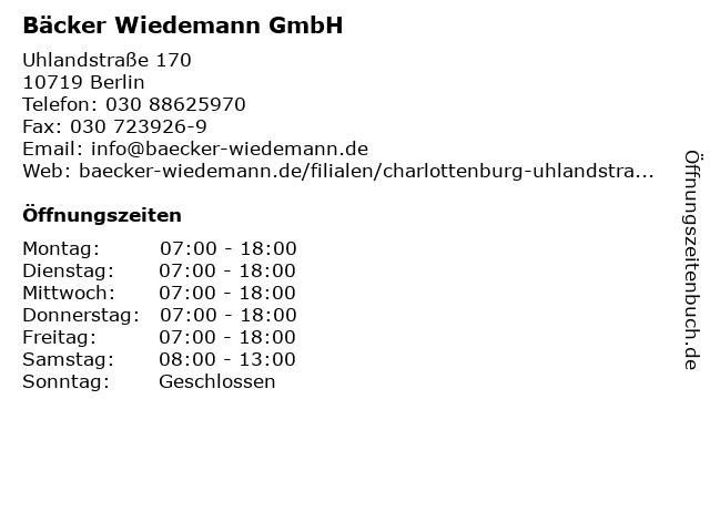 Bäcker Wiedemann GmbH in Berlin: Adresse und Öffnungszeiten