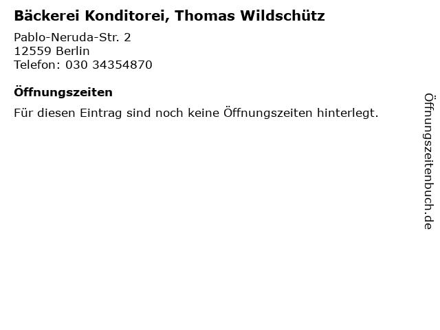 Bäckerei Konditorei, Thomas Wildschütz in Berlin: Adresse und Öffnungszeiten