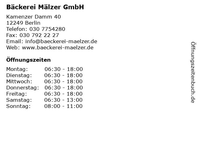 Bäckerei Mälzer GmbH in Berlin: Adresse und Öffnungszeiten