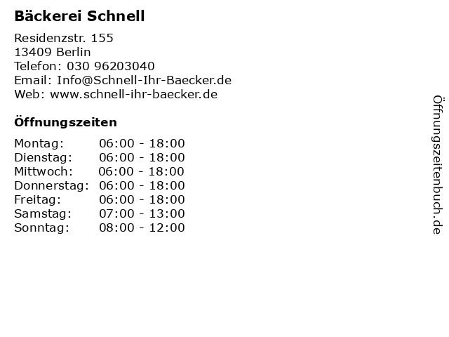 Bäckerei Schnell in Berlin: Adresse und Öffnungszeiten