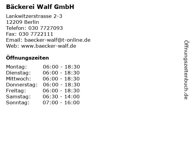 Bäckerei Walf GmbH in Berlin: Adresse und Öffnungszeiten
