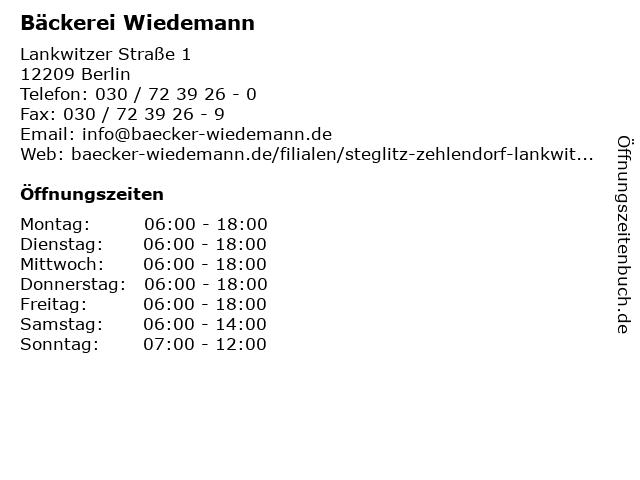 Bäckerei Wiedemann in Berlin: Adresse und Öffnungszeiten