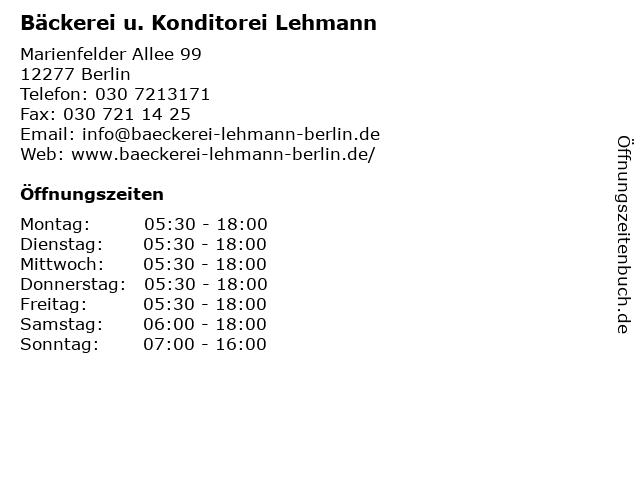 Bäckerei u. Konditorei Lehmann in Berlin: Adresse und Öffnungszeiten
