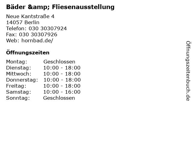 Bäder & Fliesenausstellung in Berlin: Adresse und Öffnungszeiten