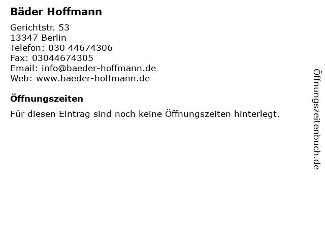 Bäder Hoffmann in Berlin: Adresse und Öffnungszeiten