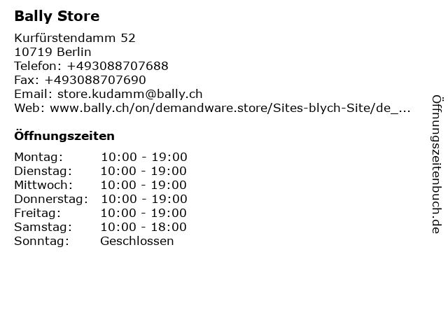 83434688fad58e Bally Store in Berlin  Adresse und Öffnungszeiten