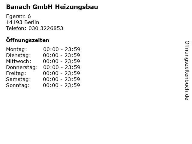 Banach GmbH Heizungsbau in Berlin: Adresse und Öffnungszeiten