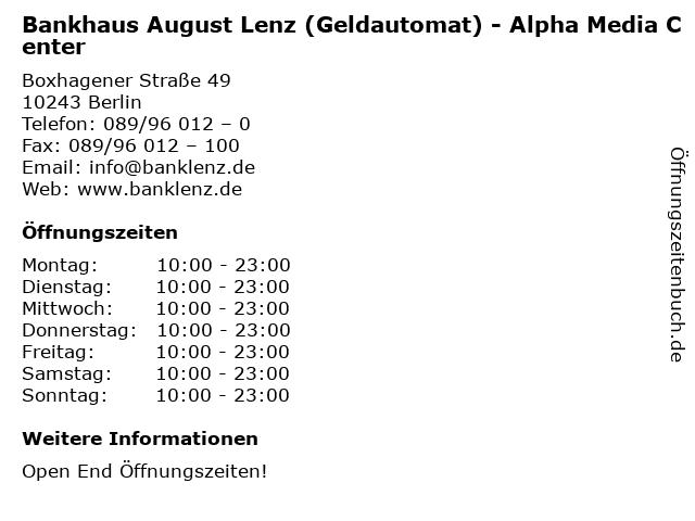 Bankhaus August Lenz (Geldautomat) - Alpha Media Center in Berlin: Adresse und Öffnungszeiten