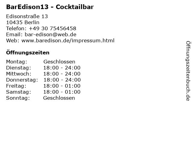 BarEdison13 - Cocktailbar in Berlin: Adresse und Öffnungszeiten