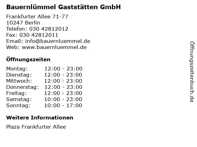 Bauernlümmel Gaststätten GmbH in Berlin: Adresse und Öffnungszeiten