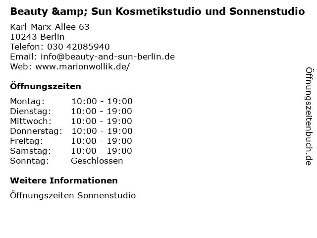Beauty & Sun Kosmetikstudio und Sonnenstudio in Berlin: Adresse und Öffnungszeiten