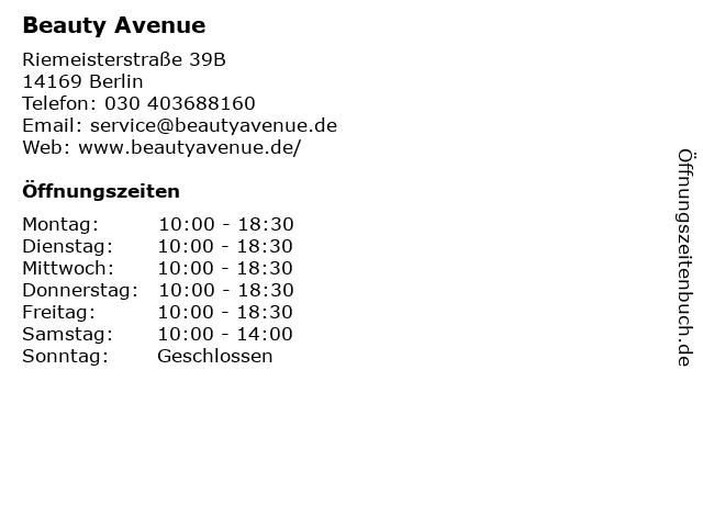 Beauty Avenue in Berlin: Adresse und Öffnungszeiten