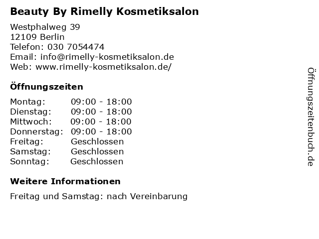 Beauty By Rimelly Kosmetiksalon in Berlin: Adresse und Öffnungszeiten