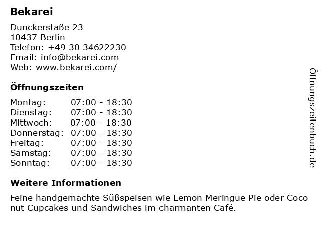 Bekarei in Berlin: Adresse und Öffnungszeiten