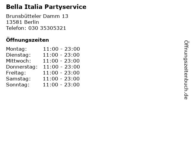 Bella Italia Partyservice in Berlin: Adresse und Öffnungszeiten