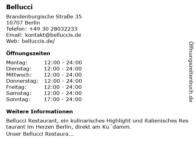 Bellucci - Restaurant & Bar in Berlin: Adresse und Öffnungszeiten