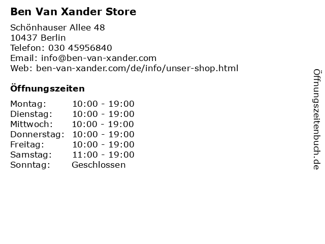 Ben Van Xander Store in Berlin: Adresse und Öffnungszeiten