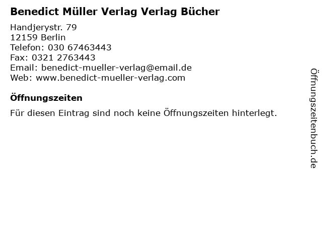 Benedict Müller Verlag Verlag Bücher in Berlin: Adresse und Öffnungszeiten